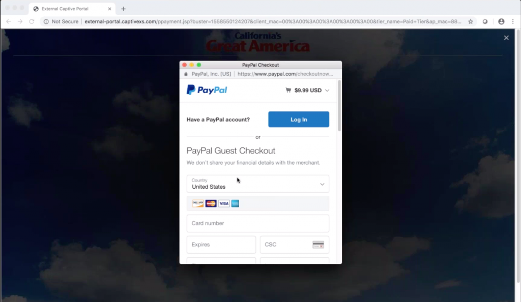 Guest WiFi Paid WiFi Tier PayPal Gateway